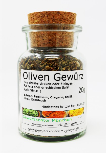 Oliven Gewürz mit Minze 20g im Glas
