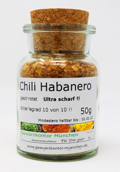 Chili Habanero geschrotet ultrascharf im Glas