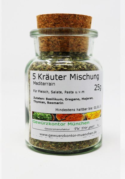 Mediterrane 5 Kräuter Mischung 25g im Glas